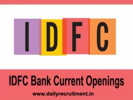 IDFC Bank Current Openings