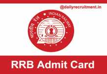 RRB Admit Card 2019