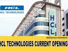 HCL Technologies Current Openings
