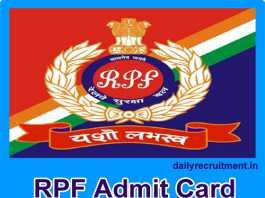 RPF Admit Card 2018
