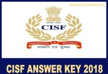 CISF Answer Key 2018