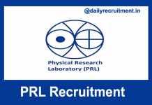PRL Recruitment 2018