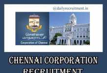 Chennai Corporation Recruitment 2020