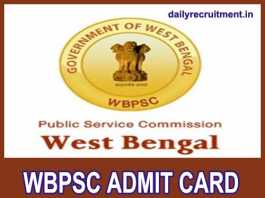 WBPSC Admit Card 2020