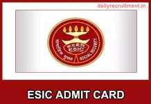 ESIC Admit Card 2019