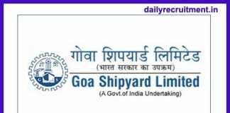 Goa Shipyard Recruitment 2018