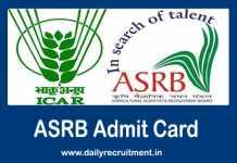 ASRB Admit Card 2019