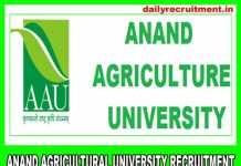 Anand Agricultural University Recruitment 2019