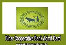 Bihar Cooperative Bank Admit Card 2081 - 19