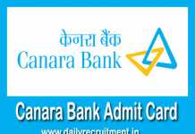 Canara Bank Admit Card 2019