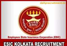 ESIC Kolkata Recruitment 2019