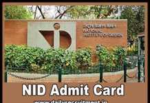 NID Admit Card 2019