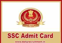 SSC Admit Card 2019