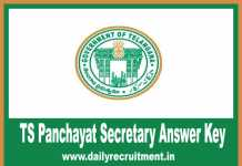 TS Panchayat Secretary Answer Key 2019