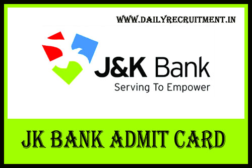 JK Bank Admit Card 2019