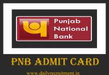 PNB Admit Card 2019