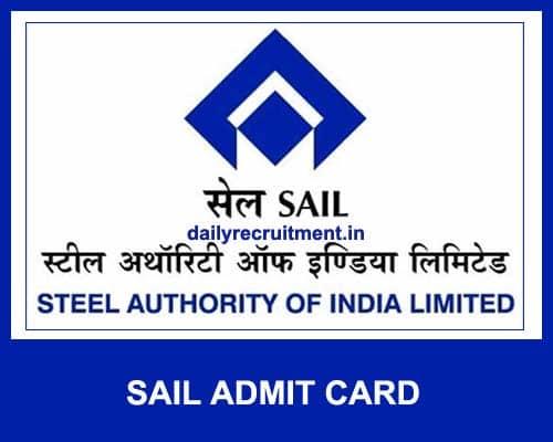 SAIL Admit Card 2021
