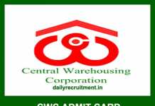 Central Warehousing Admit Card