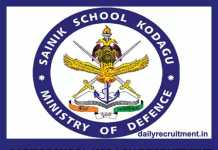 Sainik School Kodagu Recruitment 2019