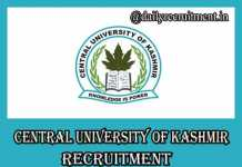 Central University of Kashmir Recruitment 2019