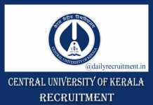 Central University of Kerala Recruitment 2019