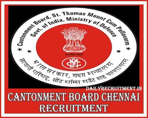 Cantonment Board Chennai Recruitment 2020