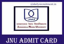 JNU Admit Card 2019