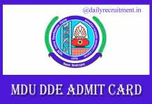 MDU Admit Card 2019
