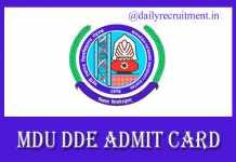 MDU Admit Card 2019