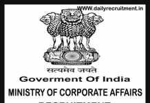 Ministry of Corporate Affairs Recruitment 2019