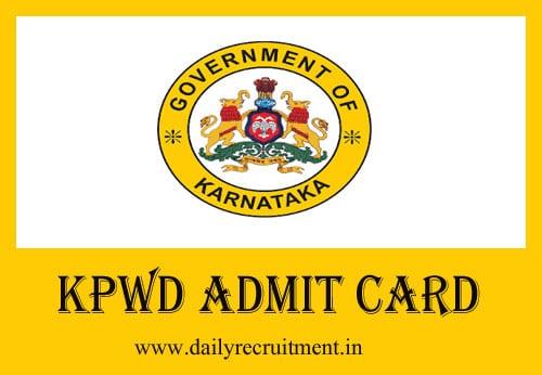 KPWD Admit Card 2019