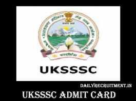 UKSSSC Admit Card 2019