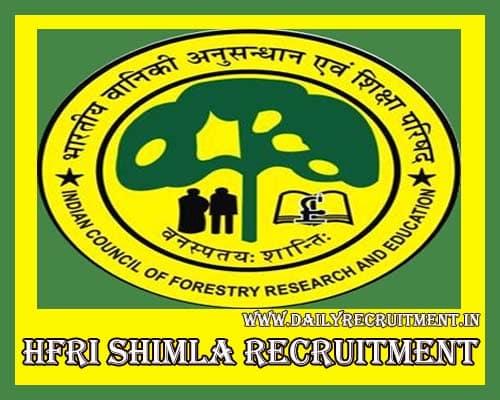 HFRI Shimla Recruitment 2020