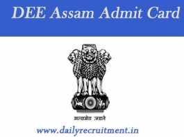 DEE Assam Admit Card 2019