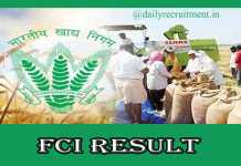 FCI Manager Result 2020