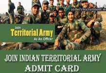 Join Indian Territorial Army Admit Card 2019