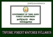 TNFUSRC Forest Watcher Syllabus 2019