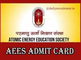 AEES Admit Card 2019