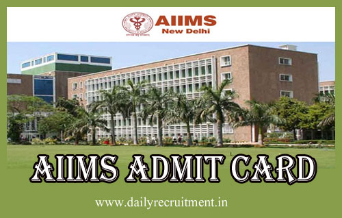 AIIMS Nursing Officer Admit Card 2020