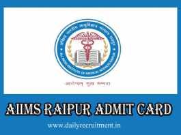 AIIMS Raipur Admit Card 2019
