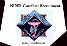 NIPER Guwahati Recruitment 2019