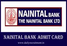 Nainital Bank Admit Card 2019