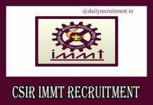 CSIR IMMT Recruitment 2019