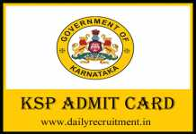 KSP Constable Admit Card 2019