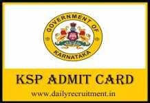 KSP SI Admit Card 2019