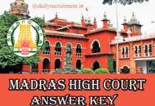 Madras High Court Answer Key 2019