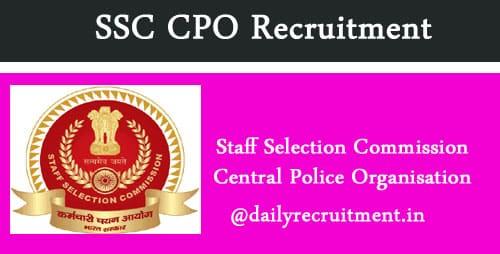 SSC CPO Recruitment 2019