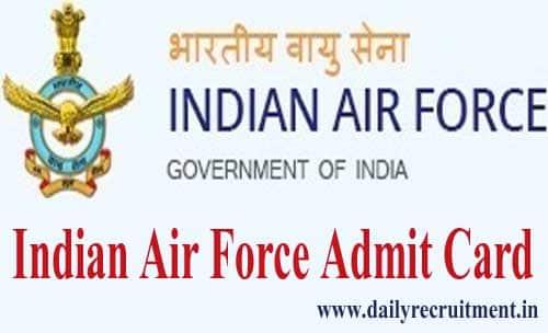 Indian Air Force Airmen Admit Card 2020