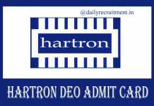 HARTRON Admit Card 2019
