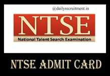 NTSE Admit Card 2019